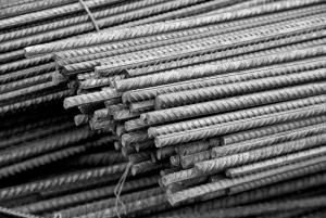 black and white photo of steel rebar
